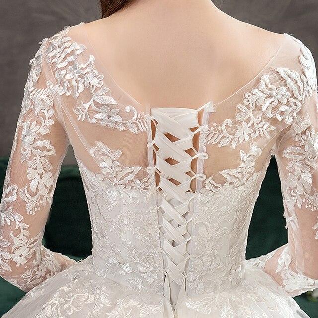 New Romantic Sweet Elegant Luxury Long Lace Princess Wedding Dress With Sleeves Appliques Celebrity Bride Gown Vestidos De Noiva 6