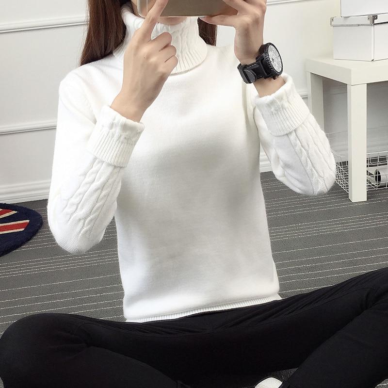 2017 nuevo invierno Coreano Camisa de Cuello Alto suéter de cuello alto manga Co