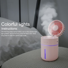 2 In 1 Portable Mini USB Fan Humidifier Cool Mist With Personal Folding 3-Speed Adjustable & 7 Colors Light Chang