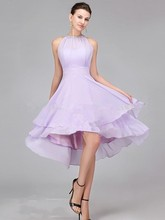 Custom Made Halter Knee Length Asymmetry Hemline Pleat Beaded Bridesmaid Dresses 2016 Wedding Party Dress Vestido De Festa