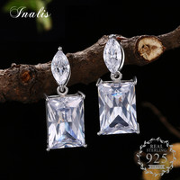 INALIS Authentic 925 Sterling Silver Geometric Square Crystal Clear CZ Stud Earrings For Women Fine Jewelry