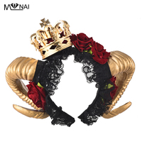 Steampunk Evil Witch Halloween Gothic Horn Cos Fancy Dress Headband Roses Flower Lace Veil Headpiece Princess Queen Crown