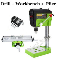 Mini Electric Drilling Machine Variable Drill Press Grinder Jewelry Drill Machine Electric Drill + Workbench + Flat nose Pliers