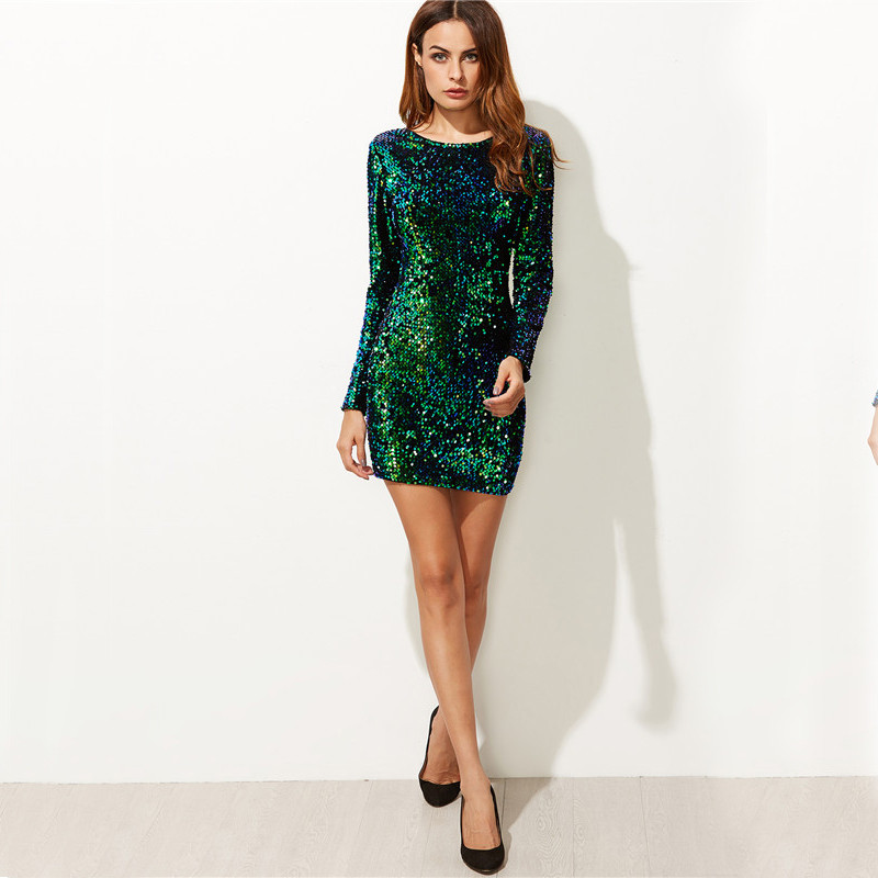 COLROVIE Women Dress Elegant Sexy Club Dresses Korean Style Brand Green Iridescent Long Sleeve Sequin Bodycon Dress 9