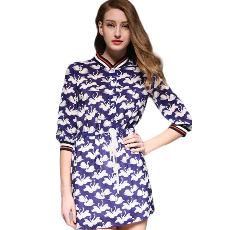 Printemps dames robe en soie imprimé cygne motif robe ample femmes robe en soie robe à boutonnage unique robes Femininos EE693