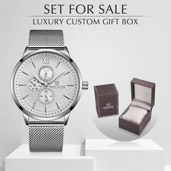 Męskie zegarki Top luksusowa marka NAVIFORCE wodoodporny zegar mężczyzna ze stali nierdzewnej zegarek kwarcowy mężczyźni biznes zegarek z pudełkiem zestaw na sprzedaż