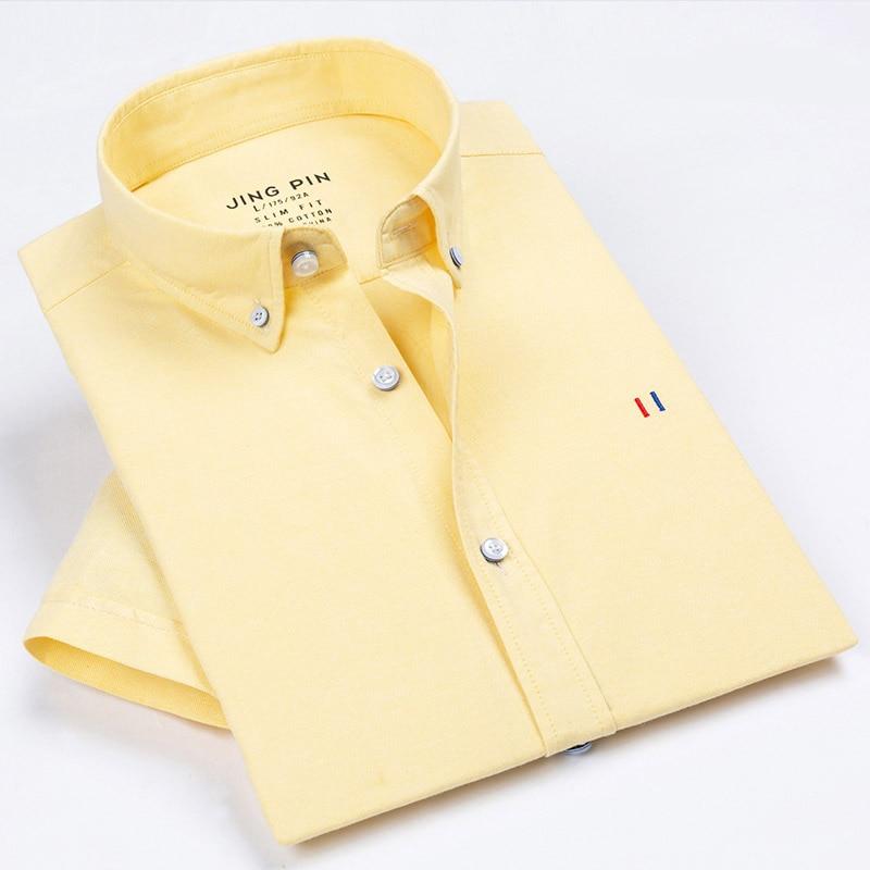 Aoliwen 2019 Men Men Brand Oxford Short Sleeve Shirt Solid Color Stripes Slim Fit 100%cotton Summer Casual Fashion Men Shirts