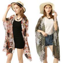 купить Womens Summer Chiffon Swimsuit Cover Up Boho Colored Leopard Paisley Floral Printed Irregular Oversized Loose Open Front Kimono по цене 202.56 рублей