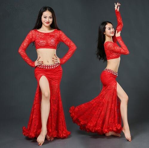 Danza del vientre traje caliente de la venta de la danza del vientre de la mujer  danza del vientre trajes Top y falda 86a03185ecf3