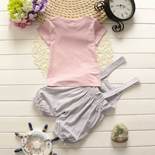 Summer Twin baby boy girl cat shirt suspender pants outfits