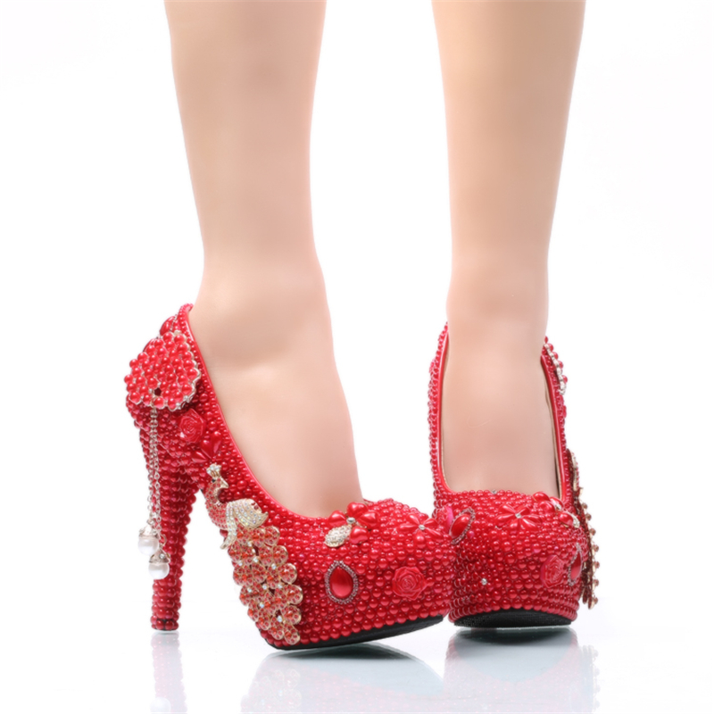 Más Heels Dama Prom Talón Rojo Nupcial Zapatos Vestido Tamaño Estilete Perla red Cinderella 14cm Heels Red 11cm Boda 8cm De Partido Phoenix Con 5cm Bombas FZtqHx7Fn