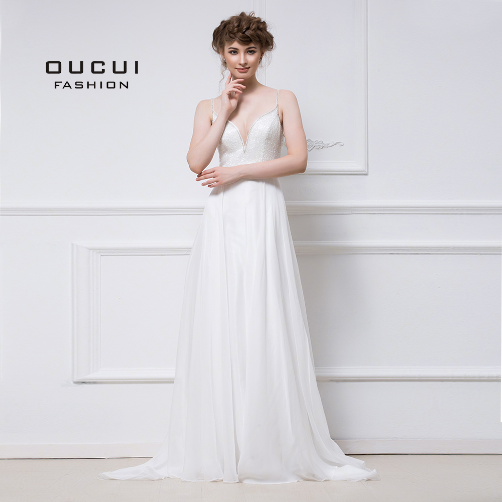 Real Photos Prom   Dress   Formal Handmade   Evening     Dress   V neck A Line Spaghetti Strap Open Back Chiffon OL102939