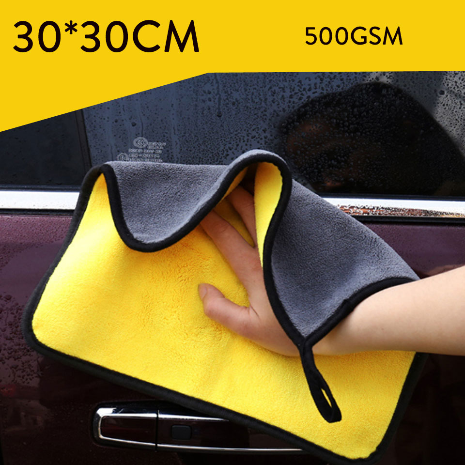 30*30 Car Care Polishing Wash Towels Strong Thick Plush Polyester Fiber Car Cleaning Cloth Plush Microfiber Washing Drying Towel