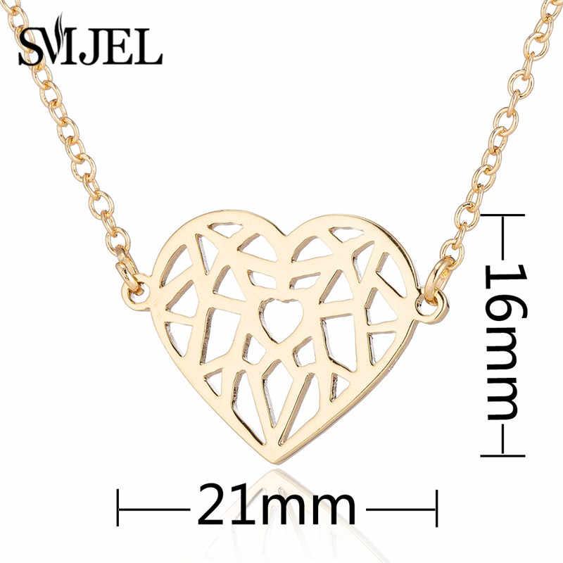 SMJEL ожерелье из нержавеющей стали в виде сердца оригами колье Femme геометрический Шарм ожерелье s лучший друг ювелирные украшения в подарок любимой Bijoux