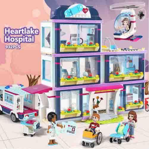 CX 01039 932Pcs 모델 구축 키트 여자 친구와 호환 41318 심장 호수 사랑 병원 3D 벽돌 그림 장난감