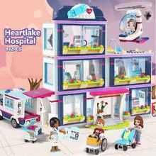 CX 01039 932Pcs Model building kits Compatible with  girls friends 41318 Heart Lake Love Hospital 3D Bricks figure toys