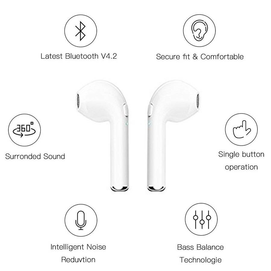 i7s TWS Wireless Bluetooth Earphone Stereo Earbud Headset With Charging Box Mic For iPhone huawei Samsung Xiaomi All Smart Phone in Bluetooth Earphones Headphones from Consumer Electronics