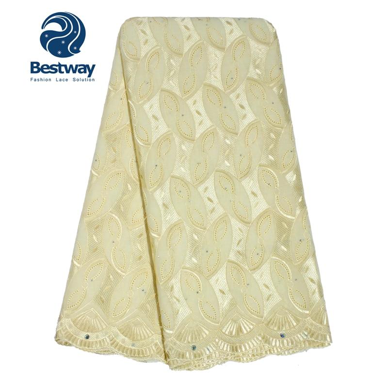 Bestway Broderad Cotton Swiss Voile Lace Fabric Torkduk Material Med - Konst, hantverk och sömnad - Foto 5
