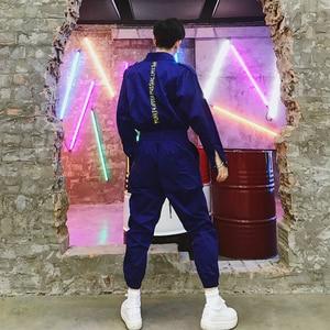 Image 2 - סרבל גברים ארוך שרוול חתיכה אחת סרבל Streetwear מכנסיים האופנה Loose מקרית סרבלי זכר היפ הופ נוסע מכנסיים YT5080
