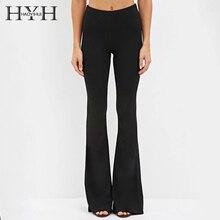HYH HAOYIHUI Spring Summer Women Slim Trousers Natural Waist Wide Leg Flare Casual Pants OL Career Wine Red Black Pantalon Femme