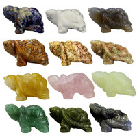 Little Turtle Statue 12 pieces Carved Gemstone Crystal Tortoise Figurines for Home Decor Craft Chakra Stones Healing Reiki