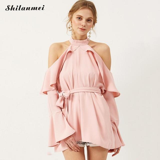 a705699f6b64 2017 Halter High Neck Off Shoulder Dress Elegant Style Ruffled Step Mini  Dresses Blusas Blusa Feminina