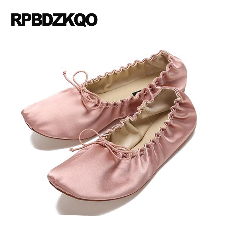 Foldable Ballet Flats Women Brand Purple Ballerina Pink Designer Knot Satin Large Size Elastic Shoes Square Toe Roll Up Bowtie women ballerina pointed toe ladies designer shoes china 2018 ballet ankle strap suede pink cute elastic flats japanese cross
