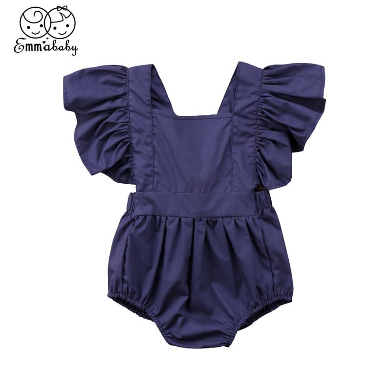 0-24Month Baby Girl Clothing 2018 Summer Newborn Baby Girl Fly-sleeve Romper 2018 New Bebes Jumpsuit Sunsuit Short Sleeve Romper