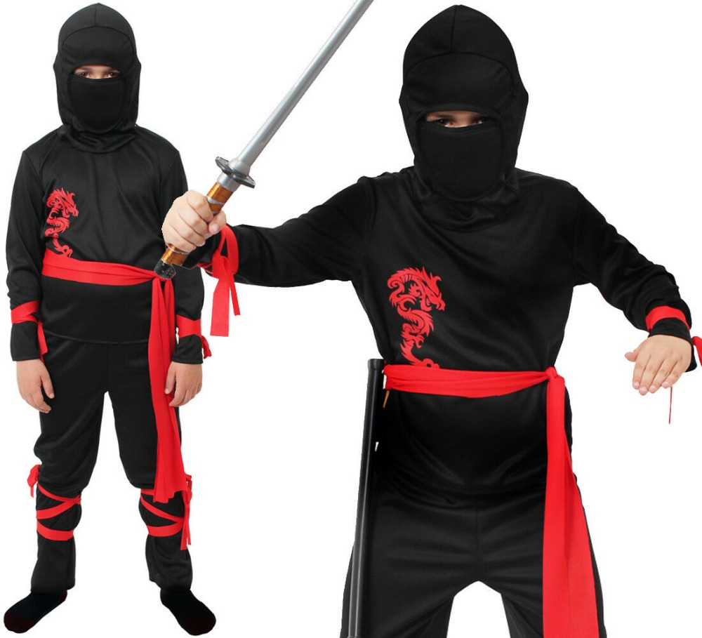 BOYS NINJA COSTUME SUITS SETS JAPANESE FIGHTER KUNG FU SAMURAI WARRIOR KARATE KIDS CHILDREN HALLOWEEN FANCY DRESS PARTY GIRLS