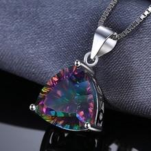 4ct Genuine Nature Rainbow Fire Mystic Topaz Pendant Trillion Concave Cut Pure Solid 925 Sterling Silver Fashion