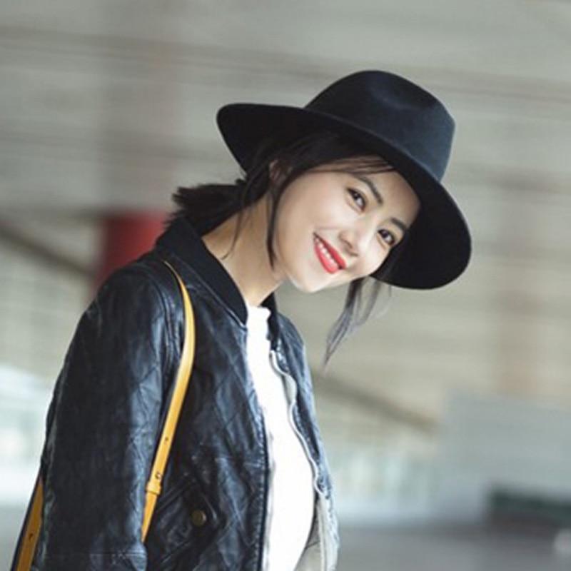 Black wool woolen felt hat and jazz wide brimmed hat British all-match hat king rivet flat brimmed hat black golden