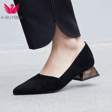 A-BUYEBA New Spring Kid Suede Slip On Women Pumps Pointed Toe Low Heels Women Shoes Fashion Shallow Ladies Office Black Shoes pumps d orsay office black nude low heels summer shoes women pointed toe suede size 4 34 formal kitten court sandals pink 2018