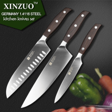 XINZUO kitchen tools 3 PCs kitchen knife set utility Chef satoku knife german 1.4116 stainless steel super sharp free shipping