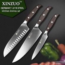 XINZUO kitchen tools 3 PCs kitchen knife set utility Chef satoku knife german 1.4116 stainless steel super sharp free shipping