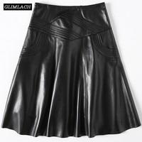Real Leather Skirt Ladies Harajuku Work A Line Skirts Women Luxury Sheepskin Genuine Leather Skirts Large Size 3XL Korean Female