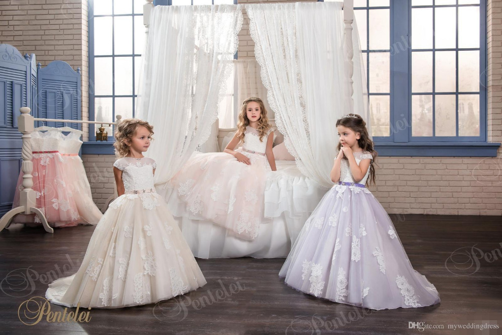 Ball Gown Flower Girl dresses for Weddings Sleeveless First Communion Dresses for Girls Lace Girls Dresses for Party and Wedding 2018 purple v neck bow pearls flower lace baby girls dresses for wedding beading sash first communion dress girl prom party gown