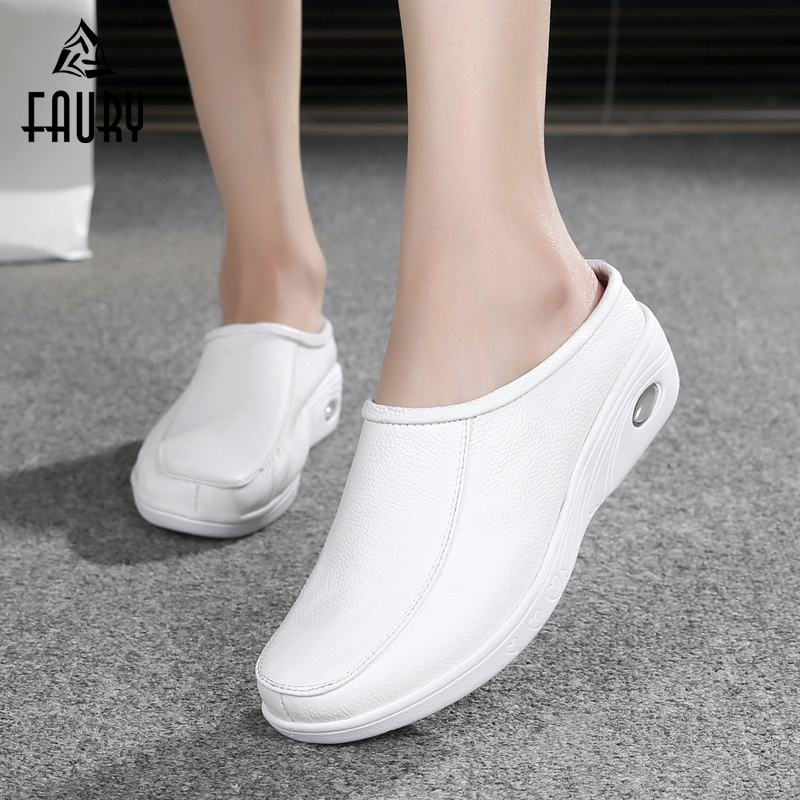 White Nurse Hospital Medical Pharmacy Beauty Salon Work Shoes Female Flat Soft Slippers Air Cushion Comfortable Breathable Shoes