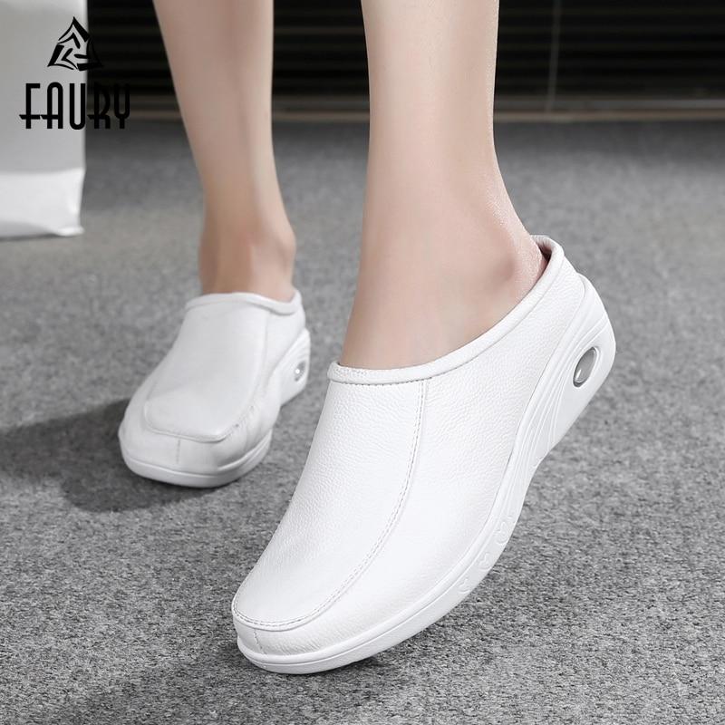 White Nurse Hospital Medical Pharmacy Beauty Salon Work Shoes Female Flat Soft Slippers Air Cushion Comfortable Breathable Shoes