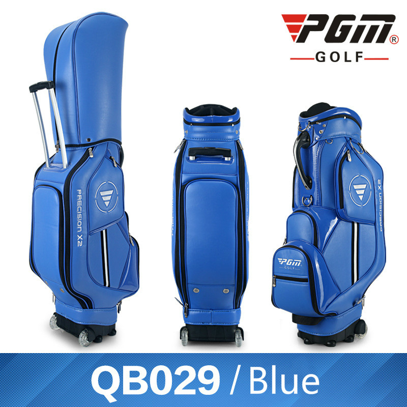 Pgm Golf Standard Ball Bag Professional Leather PU Waterproof Golf Cart Club Airbag High Capacity Package With Wheel A972