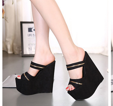 2019 Female platform Wedges Slippers Women Shoes New Summer Shoes Extreme High-heeled 17CM Shoes Peep Toe zapatillas mujer2019 Female platform Wedges Slippers Women Shoes New Summer Shoes Extreme High-heeled 17CM Shoes Peep Toe zapatillas mujer