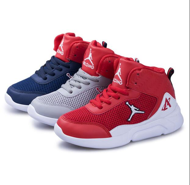 Basketball Shoes For Kids 2019 High Ankle Hook And Loop Fasteners Outdoor Breathabl Anti-slip Sports Shoes Boys Girls Size 31-38
