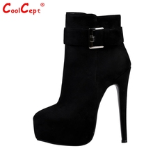 Women High Heel Ankle Boots Zipper Platform Ladies Round Toe Thin Heels Boots Brand Shoes Woman Botas Footwear Size 35-46  B243
