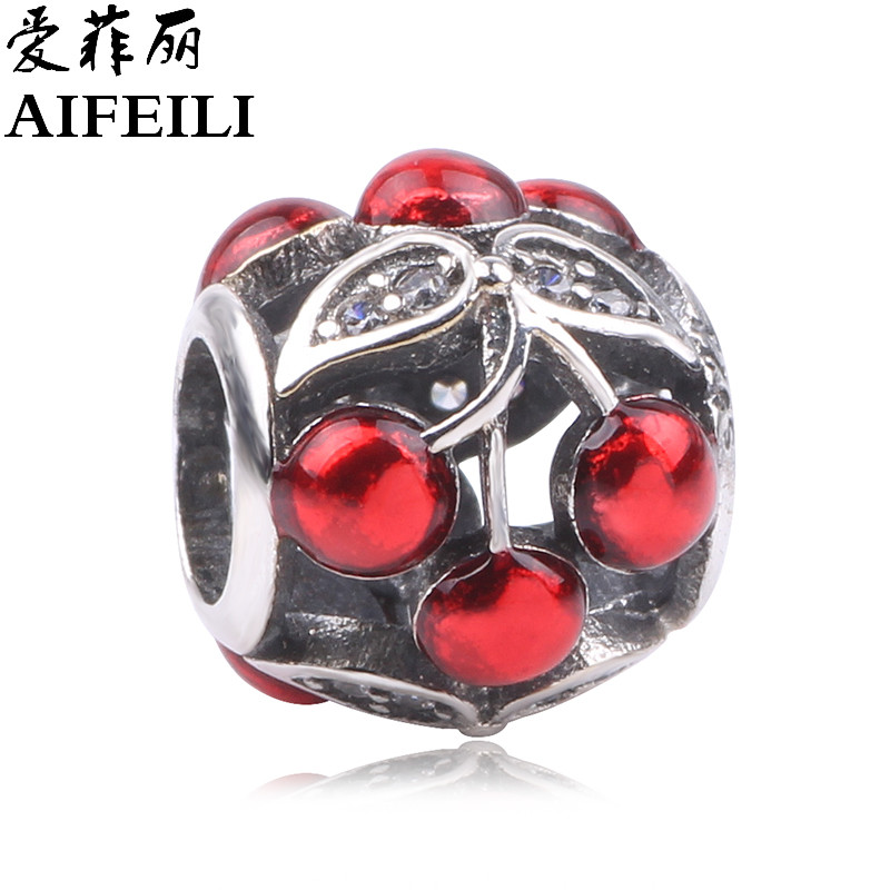 AIFEILI Cute Cherry Fit Pandora Charm Bracelet Vintage Silver Color Women Jewelry Original European Diy Beads Big Hole Charms