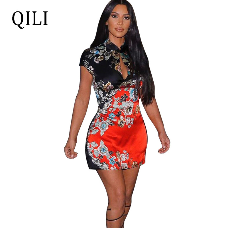 QILI Women Short Sleeve Dress Wrap Mini Floral Print Hollow Out Bodycon Vintage Printed Fashion Party Chinese