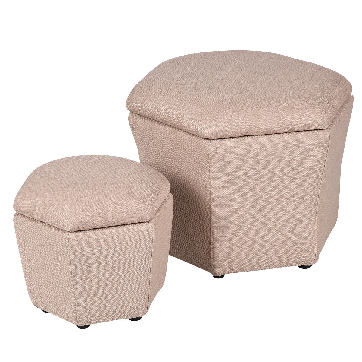 Giantex Set of 2 Ottoman Set Living Room Storage Box Seat Footstool Rest Bench Modern Ottomans Organizer HW54385