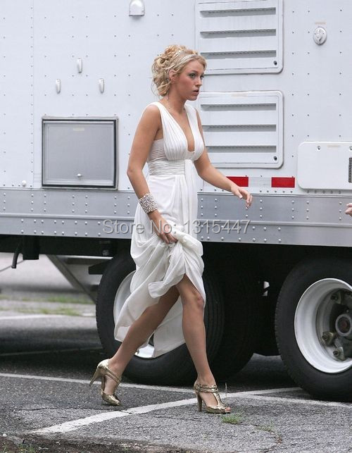 Blake Lively White Chiffon Party Dress Gossip Girl Fashion Celebrity Prom Gown1.6