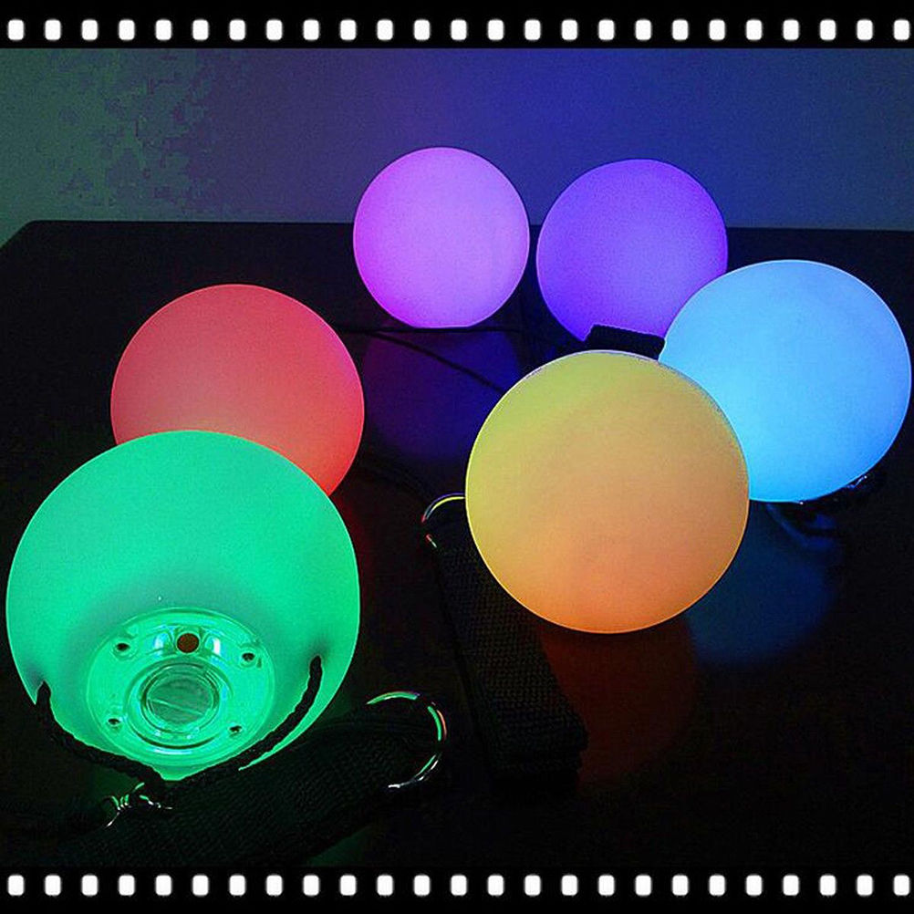 LED Light up Multi Color Glowing POI Thrown Ball for Belly Dance Hand Props Brim