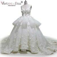 VARBOO_ELSAสีขาวOrganzaโรแมนติก3D A Ppliquesชุดแต่งงาน2018น่ารักโบว์ชุดเจ้าสาวหรูหราคริสตัลลูกปัดชุดแต่งงานบอลชุด
