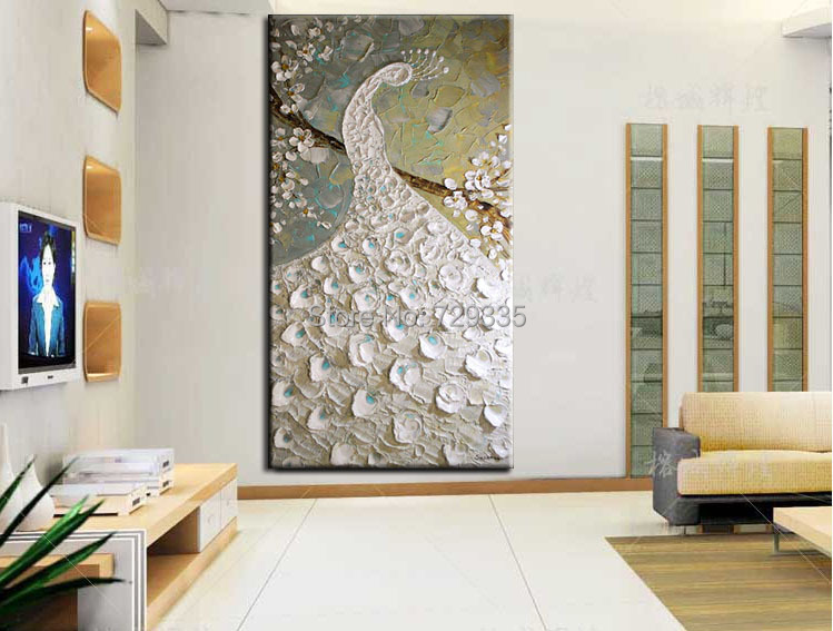 Moderne olieverf canvas paletmes witte pauw schilderij interieur