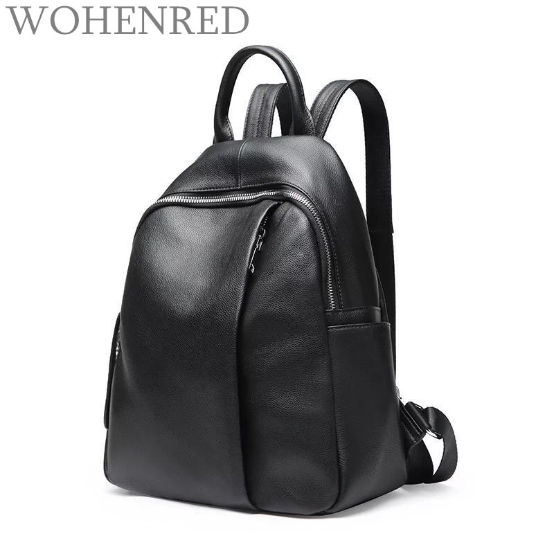 Casual Daily Backpack Women Genuine Leather School Bags High Quality Black Backpacks for Teenage Girls Fashion Travel Backpack women genuine leather backpack school bags for girls high quality fashion korean backpacks student bookbag free shipping